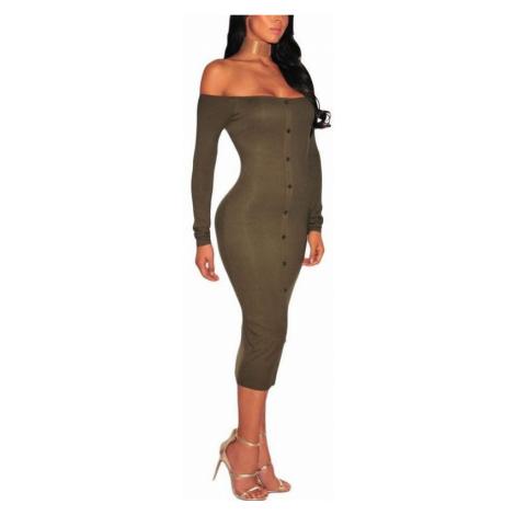 Bodycon šaty s gombíkmi Rena - zelené