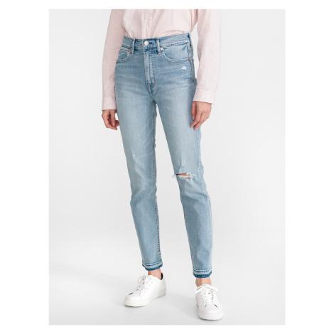 Distressed Cigarette Jeans GAP Modrá