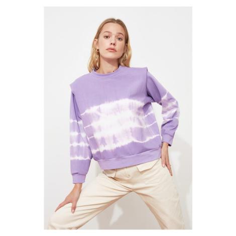 Trendyol Lila Vatka Batik Pattern Basic Knitted Sweatshirt