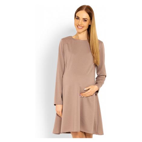 Svetlohnedé tehotenské šaty 1359C PeeKaBoo