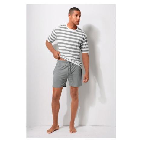 H.I.S Krátke pyžamo  biela / sivá
