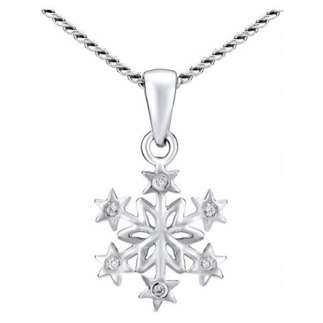 Silvego Strieborný náhrdelník Snehová vločka ZTJ81189VSW (retiazka, prívesok)