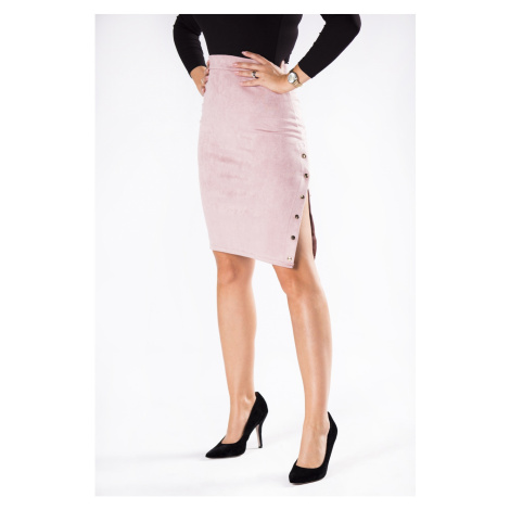 Eco-suede pencil skirt with a zipper on the side