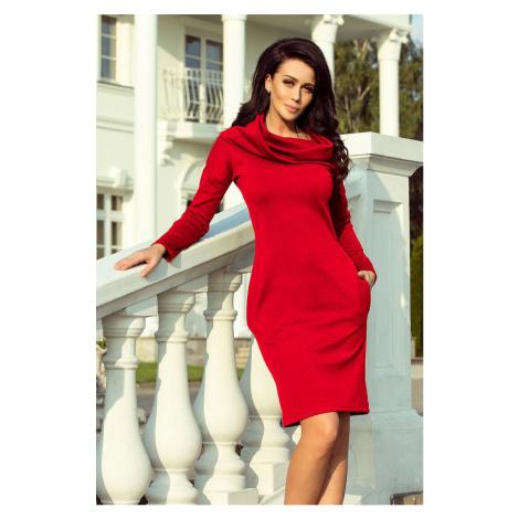 Dámske červené šaty s golierom GIADA 131-9