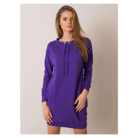 Fialové mikinové šaty so sťahovacími šnúrkami