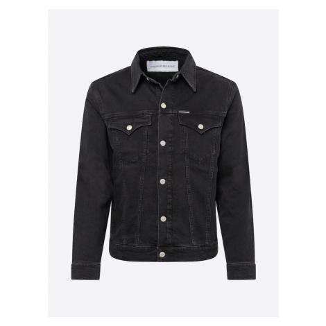 Calvin Klein Jeans Prechodná bunda 'FOUNDATION SLIM DENIM JACKET'  čierna
