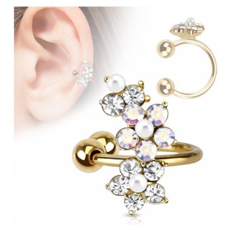 Falošný piercing do ucha, krúžok z ocele 316L, zlatá farba, zirkónové kvietky