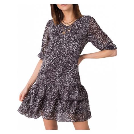 sivé mini šaty so zvieracím motívom Rue Paris