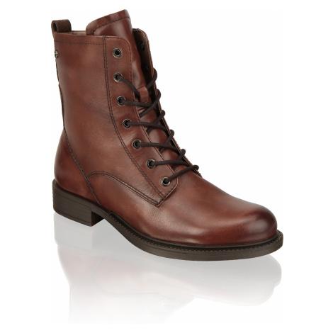 TAMARIS hladká koža snurovacia obuv hnedá