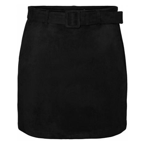 Vero Moda Dámska sukňa VMCHILI faux SUEDE HW SHORT SKIRT Black
