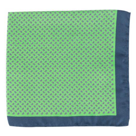 John & Paul Zelená hodvábna vreckovka s paisley vzorom a modrými okrajmi John & Paul