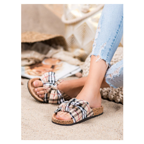 BONA FLIP-FLOPS WITH A CHECKERED BOW shades of brown and beige