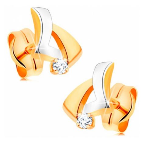 Briliantové zlaté náušnice 585 - asymetrický trojuholník, okrúhly číry diamant