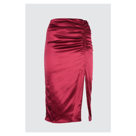 Trendyol Mürdüm Büzgü Detailed Skirt