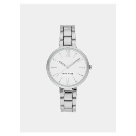 Dámske hodinky s kovovým remienkom v striebornej farbe Nine West