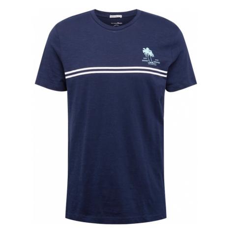TOM TAILOR DENIM Tričko  modrá / biela