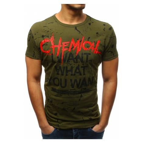 Green men's T-shirt with print RX3247 DStreet