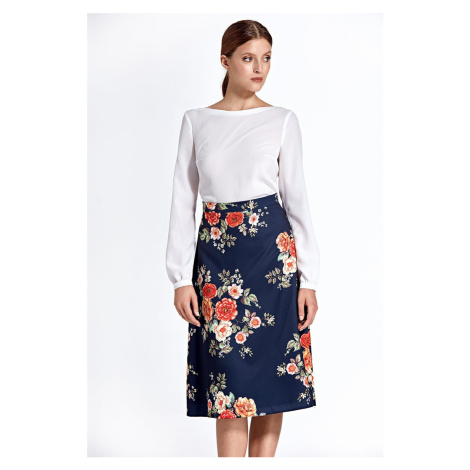 Tmavomodrá kvetovaná sukňa CSP05 Colett