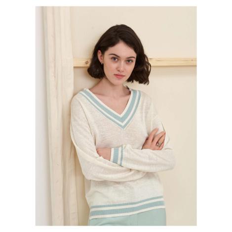 Dámsky ľanový sveter s hodvábom Pietro Filipi béžová