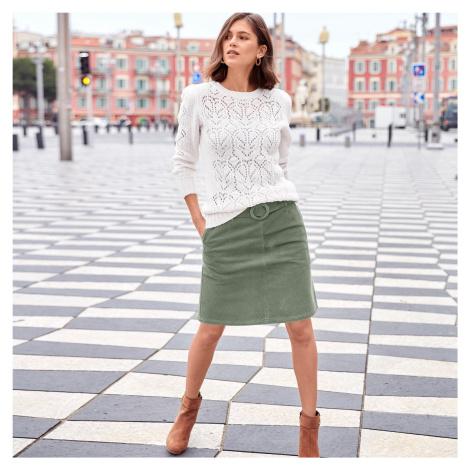 Blancheporte Zamatová sukňa s opaskom a sponou zelená