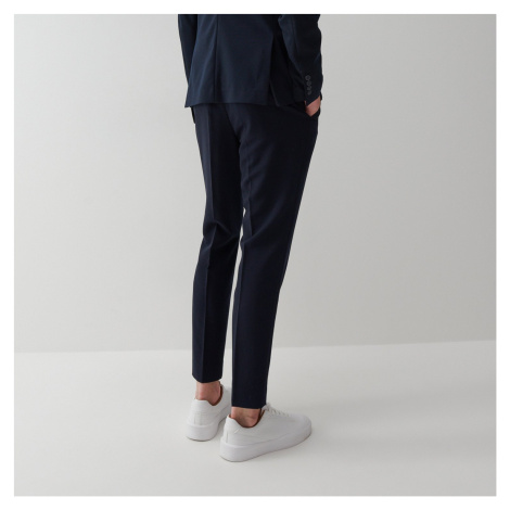 Reserved - Slim chino nohavice so zažehlenými pukmi - Tmavomodrá