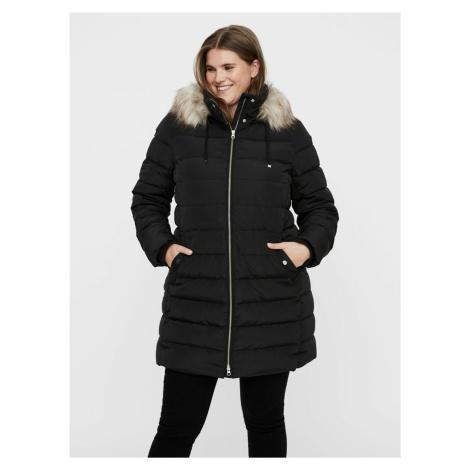 Čierny zimný prešívaný kabát JUNAROSE