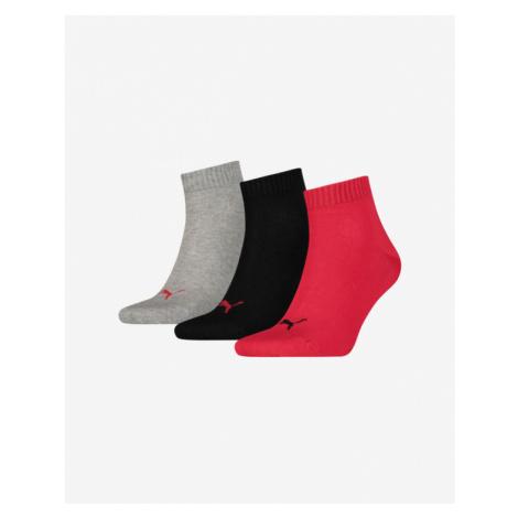 Puma Ponožky 3 páry Čierna Červená Šedá