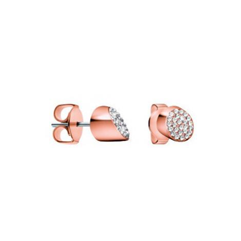Calvin Klein Ružovo pozlátené náušnice s kryštálmi Brilliant KJ8YPE140100
