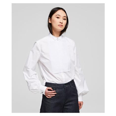 Košeľa Karl Lagerfeld Pleated Plastron Poplin Shirt