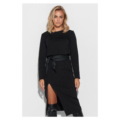 Čierne šaty s dlhým rukávom M619 Makadamia