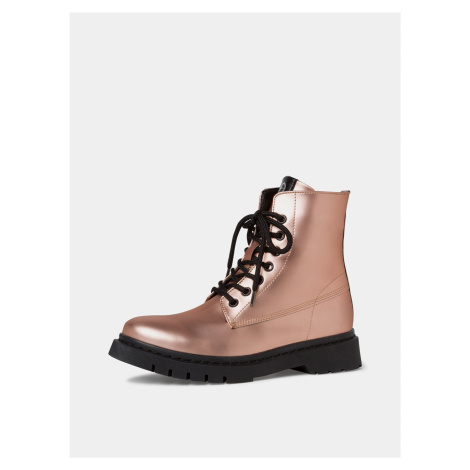 Ružové členkové lesklé topánky Tamaris