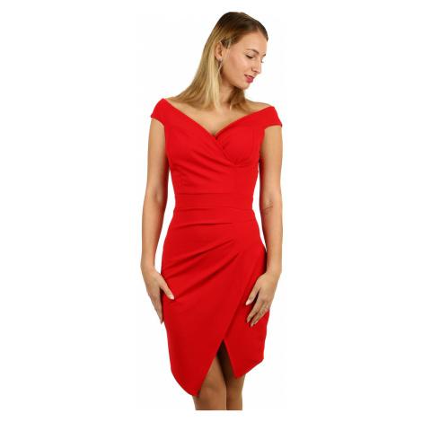 Krátke spoločenské šaty s odhalenými ramenami