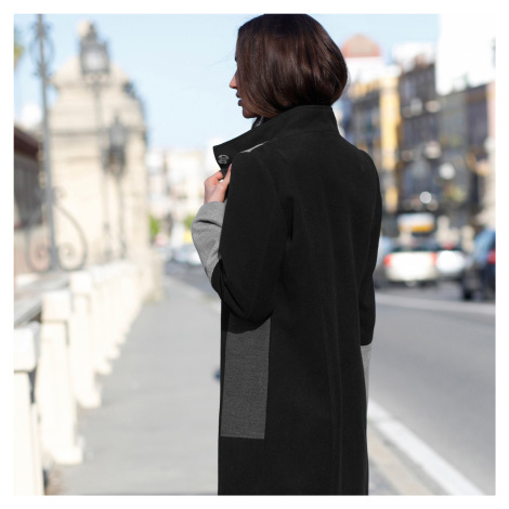 Blancheporte Kabát s patchworkovým efektom sivá