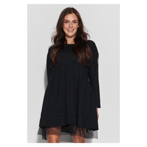 Čierne šaty s dlhým rukávom NU312 Numinou