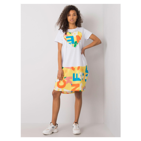 White and yellow loose dress with prints