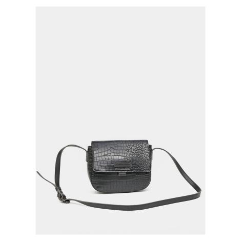 Čierna crossbody kabelka s krokodílím vzorom Claudia Canova