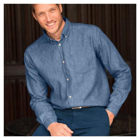 Blancheporte Džínsová košeľa s dlhými rukávmi zapratá modrá
