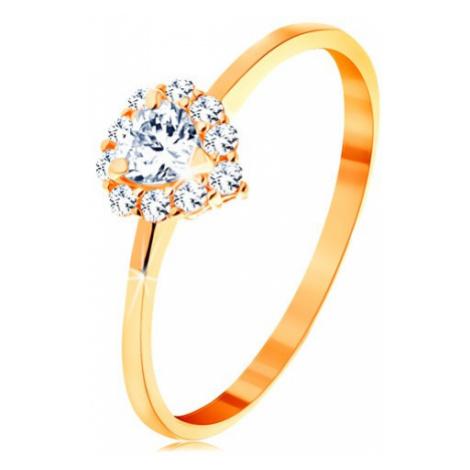 Prsteň v žltom 14K zlate - číre zirkónové srdiečko s trblietavým okrajom - Veľkosť: 65 mm