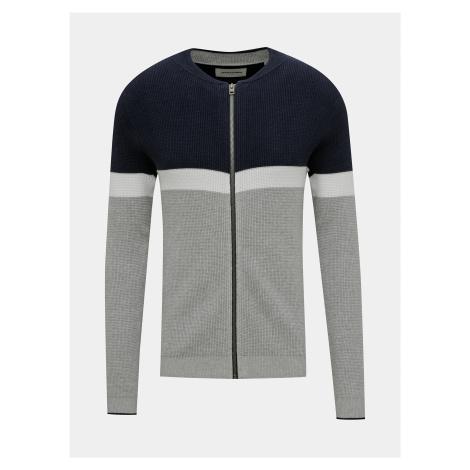 Modro-šedý sveter na zips Jack & Jones Mountain