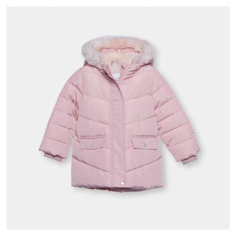 Sinsay - Dlhá bunda s umelou kožušinou - Ružová