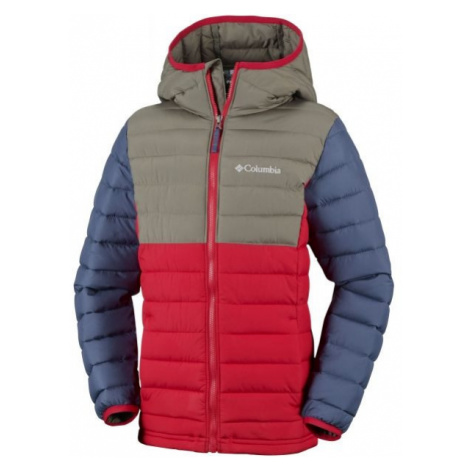 Columbia POWDER LITE BOYS HOODED JACKET červená - Chlapčenská zateplená bunda