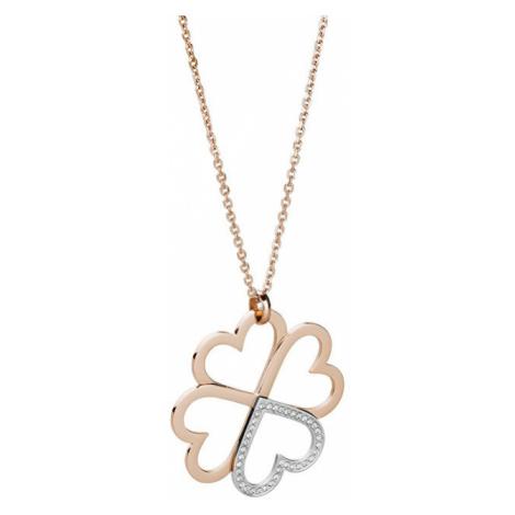 Brosway Oceľový bicolor náhrdelník so štvorlístkom C-lover BOV03 (retiazka, prívesok)