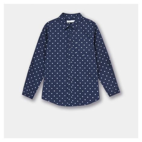 Sinsay - Bavlnená košeľa s golierom - Tmavomodrá