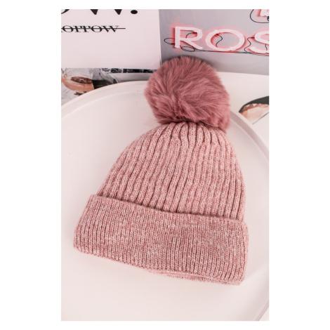 Ružová čiapka s brmbolcom Agnes