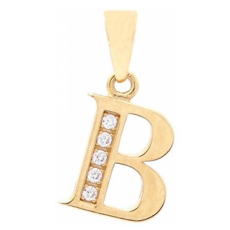 Zlatý prívesok B so zirkónmi