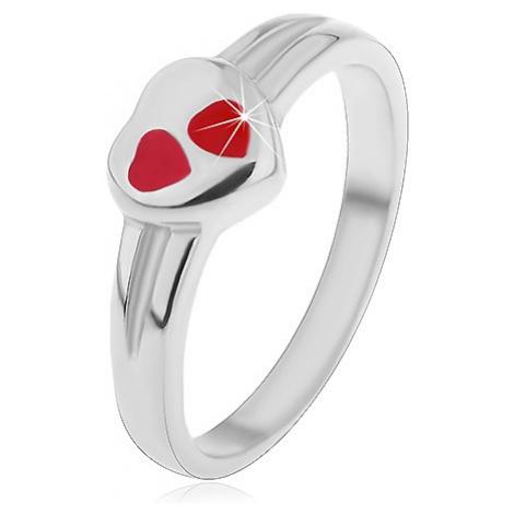 Detský prsteň z chirurgickej ocele, strieborná farba, srdce s červenou glazúrou - Veľkosť: 49 mm