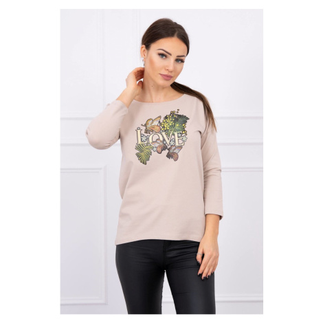 Blouse with Love print beige