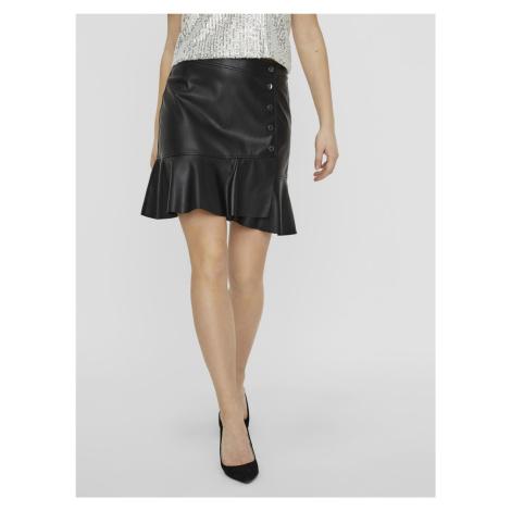 Vero Moda čierna koženková sukňa Liv