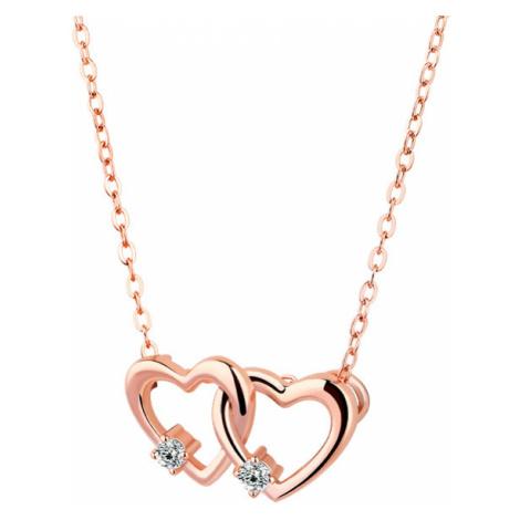 OLIVIE Strieborný náhrdelník SPOJENÁ SRDCE ROSE 4116