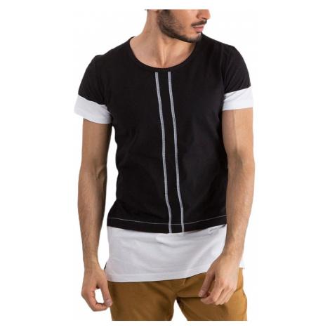 čierne pánske tričko s prúžkami MECHANICH